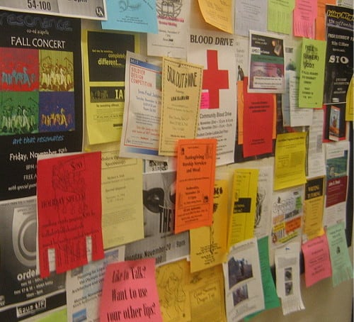 DIY ads from a public bulletin board exemplify a lack of design principles.