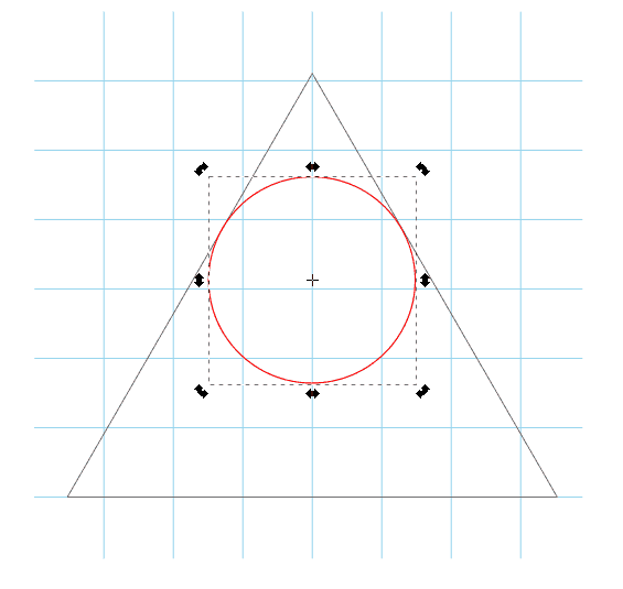 Use Inkscape's Circles tool to create a perfect circle within your triangle and convert it to a path