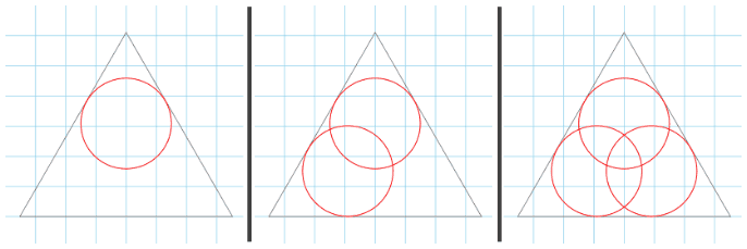 Duplicate your original circle (use CTRL + D) and align within your triangle