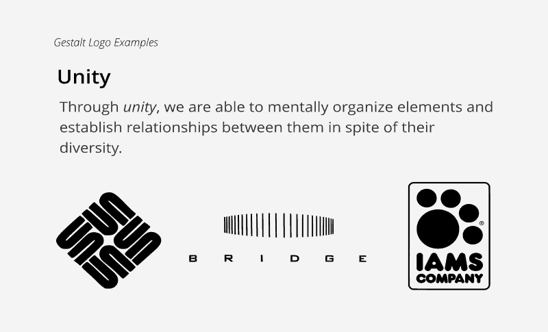 Exmaples of the unity principle in logo psychology theory