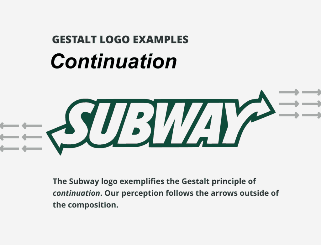 Subway's logo is an example of the Gestalt principle of continuation