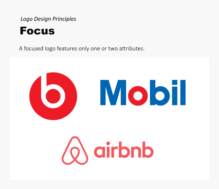 A focused logo features only one or two attributes or elements.