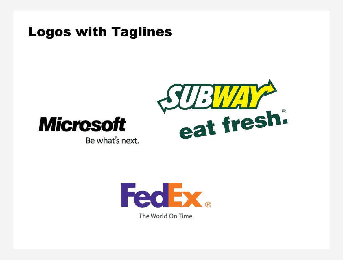 Famous logos using taglines