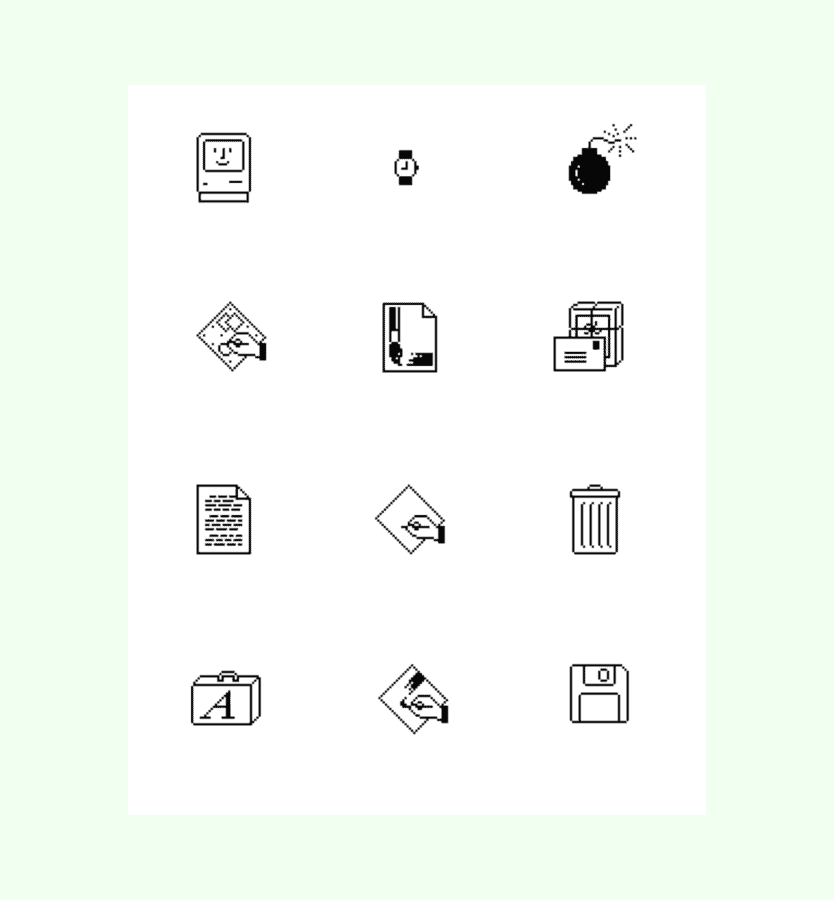 Susan Kare examples of icons in user interfaces.